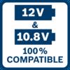 ใช้กับแรงดันไฟ 10.8 โวลท์และ 12 โวลท์ได้ 100% เครื่องมือสำหรับช่างมืออาชีพจากบ๊อช แบตเตอรี่ และเครื่องชาร์จขนาด 10.8 โวลท์ทั้งหมด สามารถใช้ร่วมกับเครื่องมือสำหรับช่างมืออาชีพจากบ๊อช แบตเตอรี่ และเครื่องชาร์จขนาด 12 โวลท์ได้ 100%
