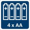 แหล่งจ่ายไฟ: แบตเตอรี่ AA 4 ก้อน