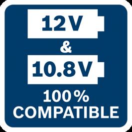 เครื่องมือสำหรับช่างมืออาชีพจากบ๊อช แบตเตอรี่ และเครื่องชาร์จขนาด 10.8 โวลท์ทั้งหมด สามารถใช้ร่วมกับเครื่องมือสำหรับช่างมืออาชีพจากบ๊อช แบตเตอรี่ และเครื่องชาร์จขนาด 12 โวลท์ได้ 100%