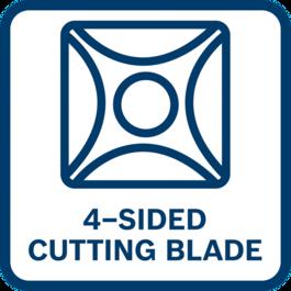 ประสิทธิภาพสูง ด้วยใบมีดสองคมแบบ 4 คมตัด เพื่อชิ้นงานตัดที่ดีเยี่ยมและอายุการใช้งานที่ยาวนานกว่าเดิม